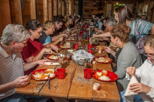 Dinner in the miners' bunkhouse as part of the dinner/theatre event at the Silver Queen Mine. (Photo by David Zimmerly)