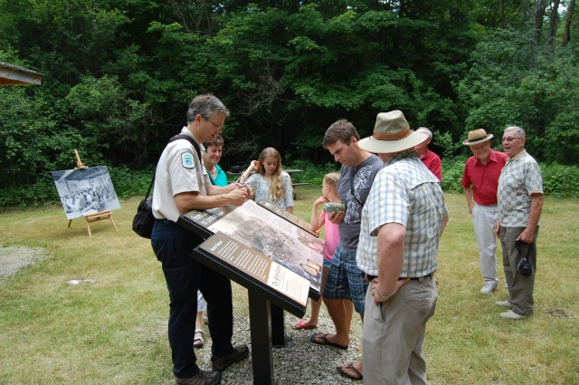The new interpretive signs at the site provide info about the mining history at Murphys Point.