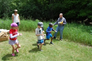 An egg race as part of the heritage games.